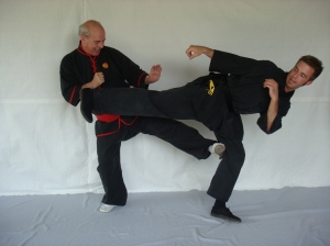 Phillip Starr demonstrating an example of freestyle sparring practice (from his book Martial Maneuvers)